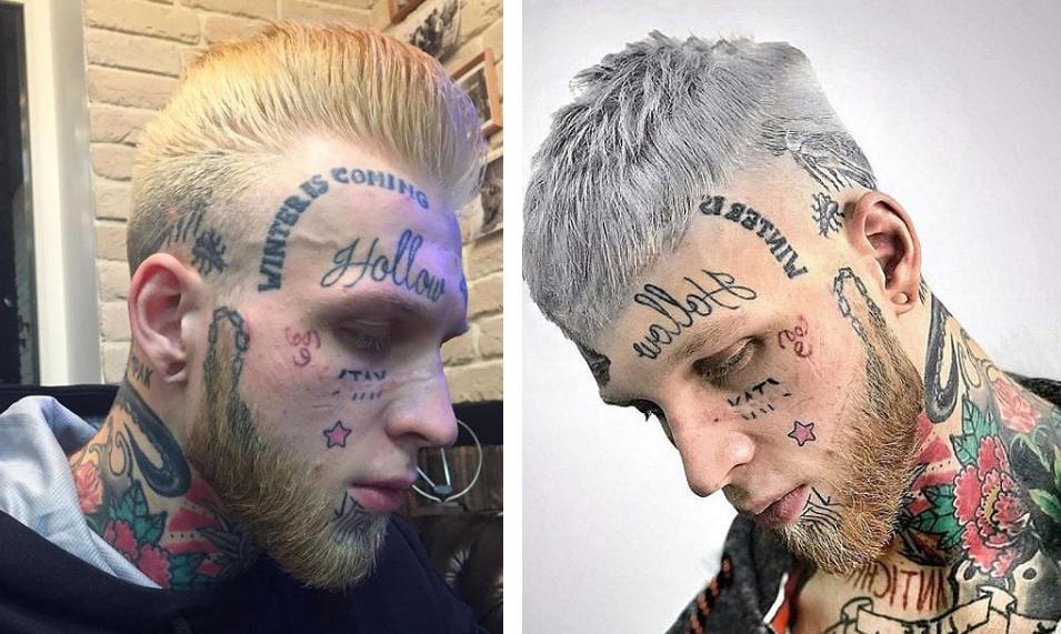 денис шальных тату на лице