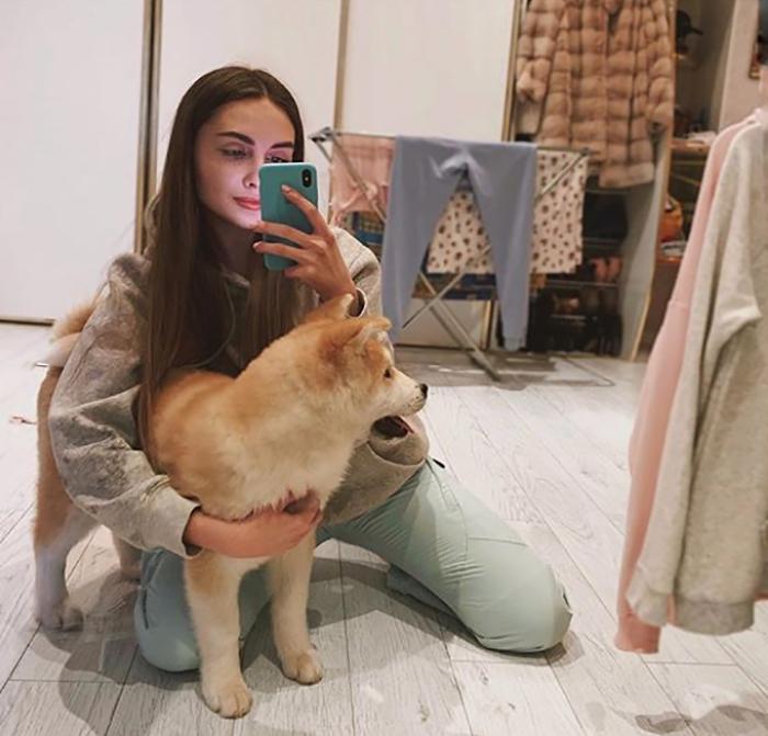 Lena Reif с собакой